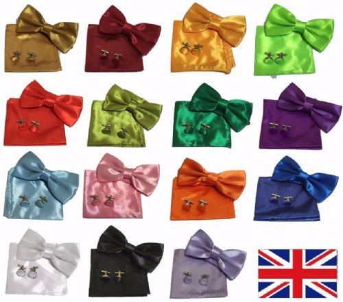 Men square Satin Wedding pocket Hanky Handkerchief + bow tie + cufflinks Set
